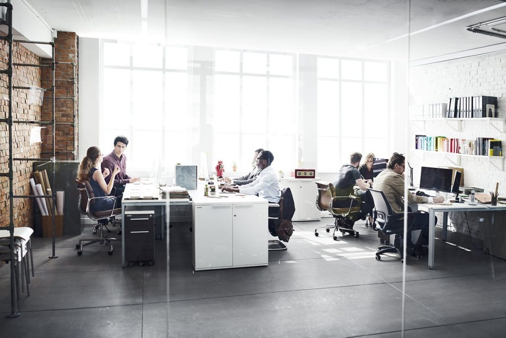 Workers in a modern office