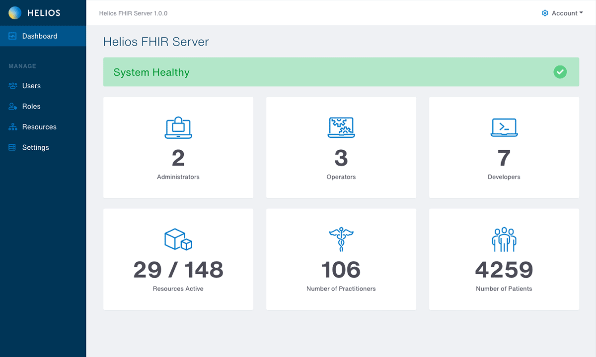 Helios FHIR Server dashboard